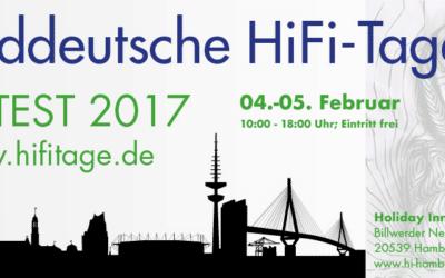 Wir sind am 4.+5. Februar 2017 auf den Norddeutschen HiFi-Tagen in Hamburg !