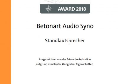 fairaudio favourite award 2018 BETONart-audio