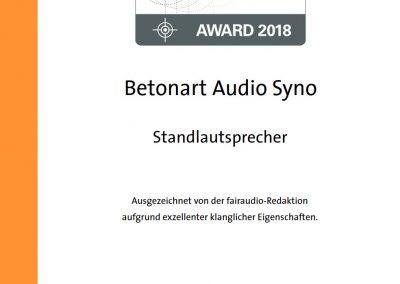 fairaudio favourite award 2018 BETONart-audio
