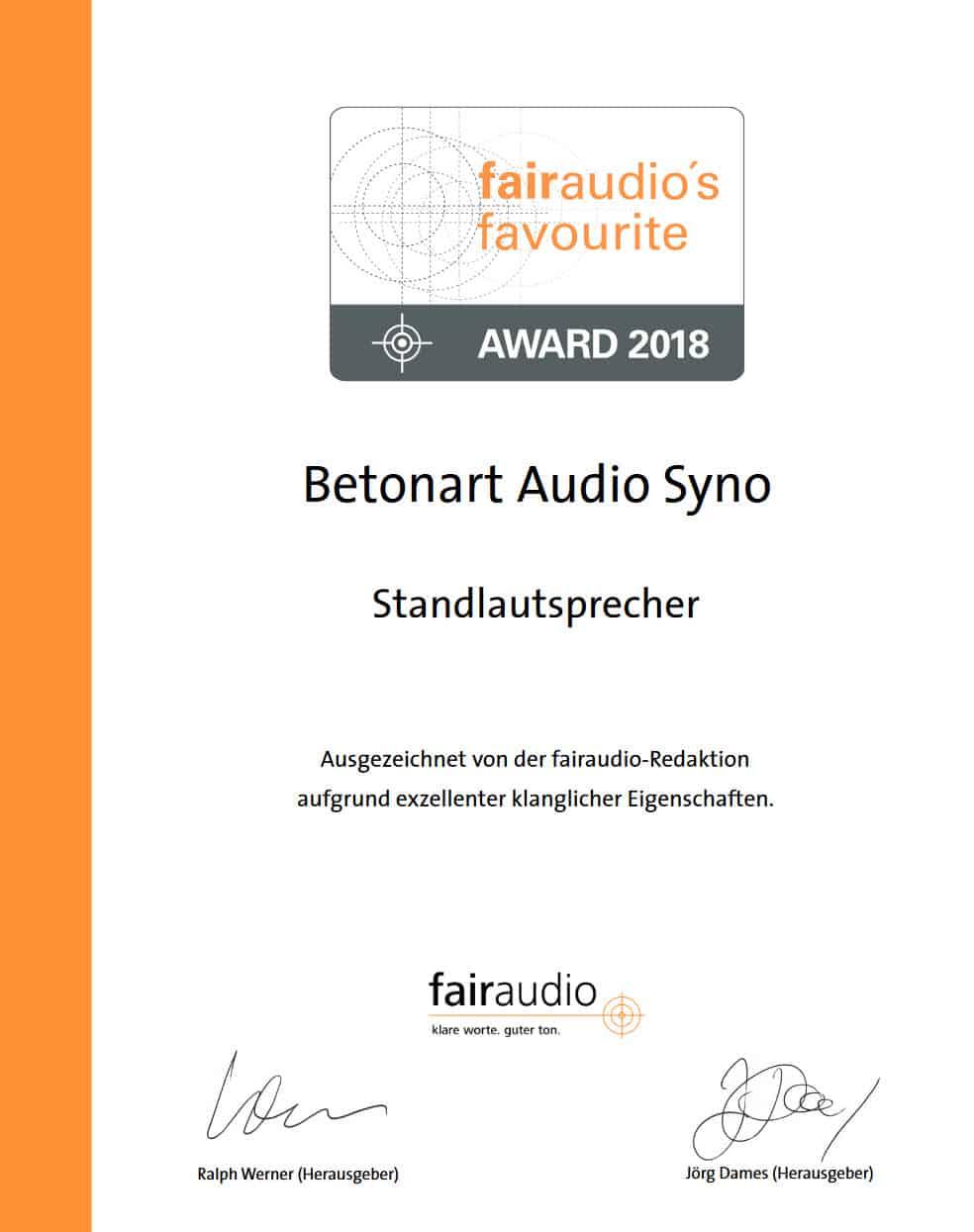 fairaudio favourite award 2017 für BETONart-audio SYNO 1