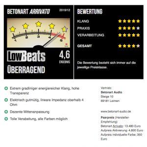 Überragender Test der ARRIVATO bei Lowbeats