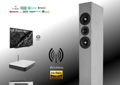 """Wireless in Hi-Res Qualität 24bit / 96khz (WiSA) für all unsere """"Aktiven"""" 1"""
